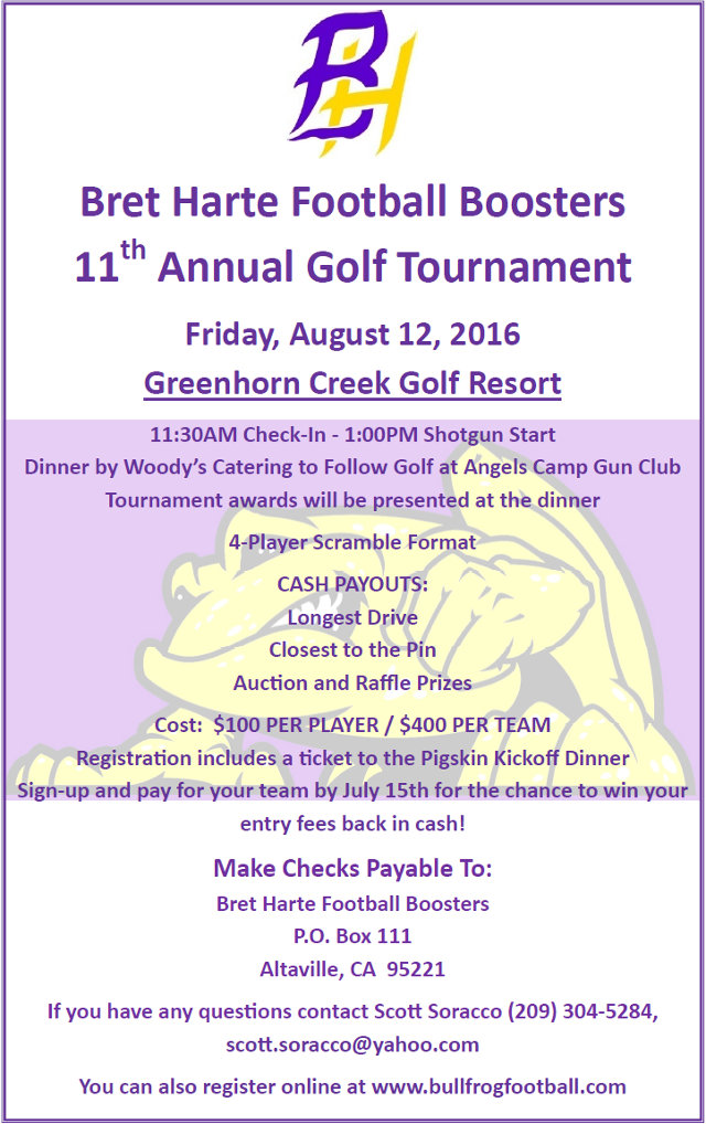 The 11th Annual Bret Harte Football Boosters Golf Tournament Is August 12th!