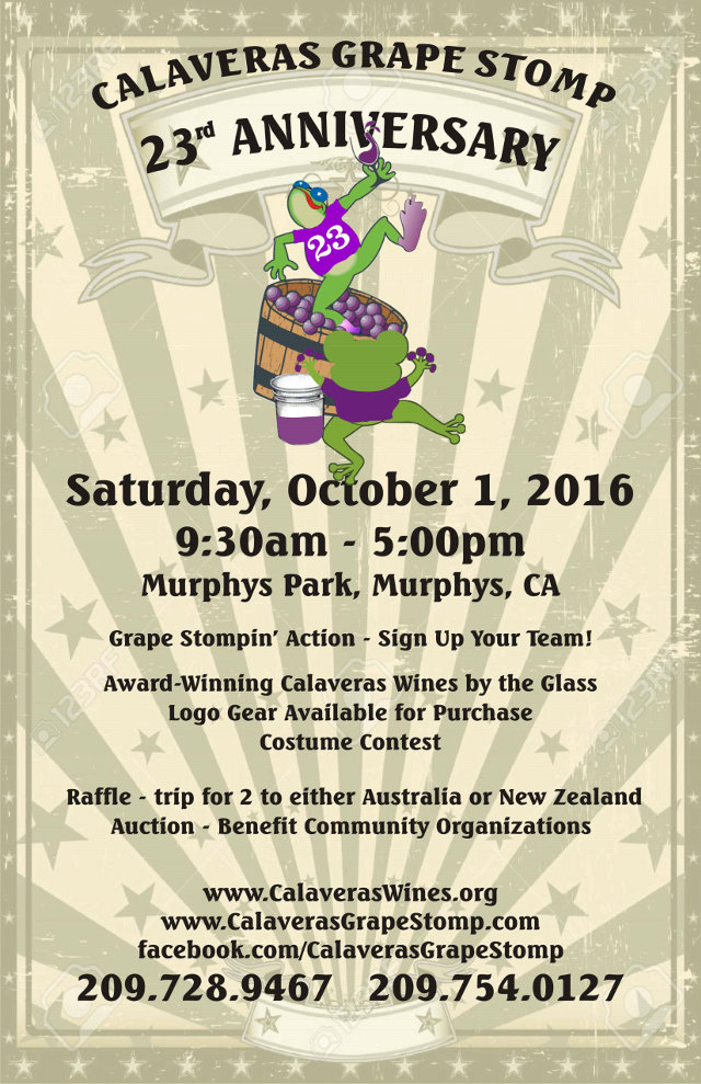 Calaveras Grape Stomp Celebrates 23rd Anniversary October 1, 2016!  Registration Now Open!