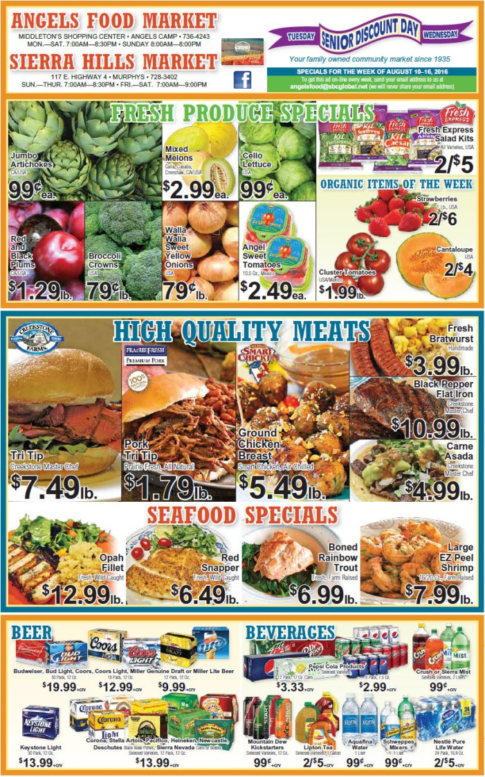 Angels Food & Sierra Hills Markets Weekly Ad Through August 16th