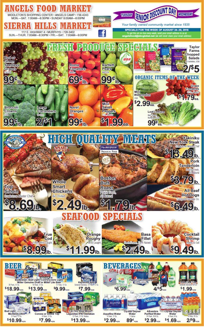 Angels Food & Sierra Hills Markets Weekly Ad August 24 – 30