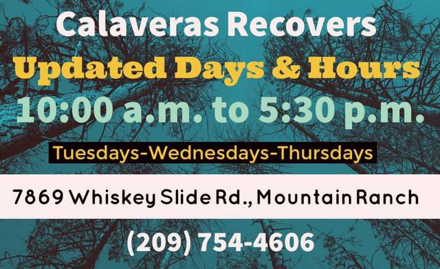 Updated Hours For Calaveras Recovers