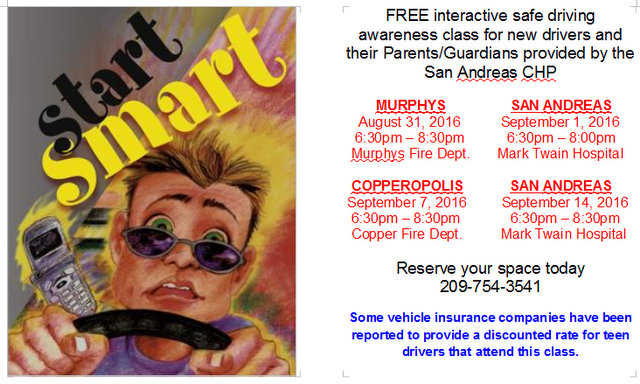 Safe Driving Classes Start Tomorrow!! Then September 1, 7 & 14