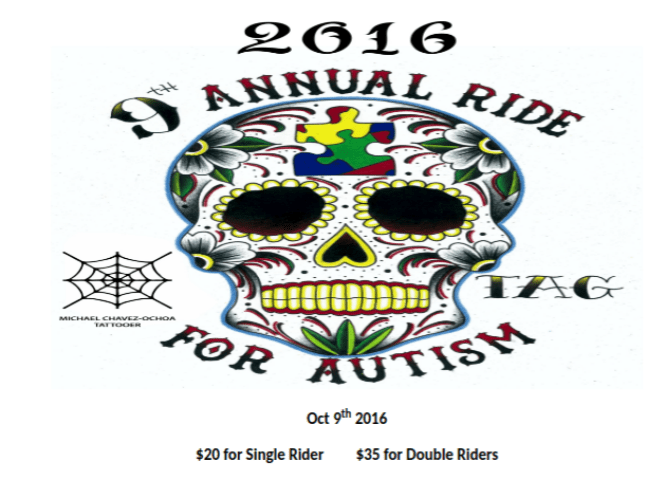 "9th Annual ""Ride For Autism"" Sunday October 9th 2016"