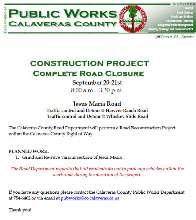 Traffic Update…Portions Of Jesus Maria Road Will Be Closed On September 20-21st For Repairs