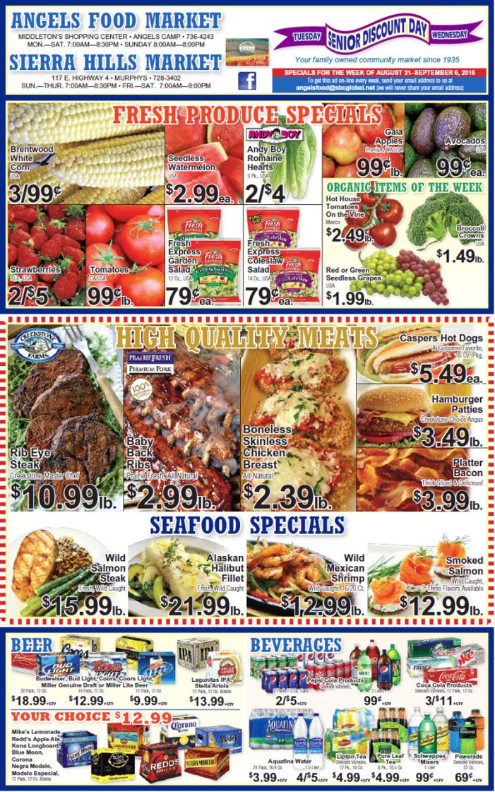 Angels Food & Sierra Hills Markets Weekly Ad Through September 6th