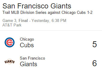 Giants Stay Alive With A 6 – 5 Win Over Cubs In 13