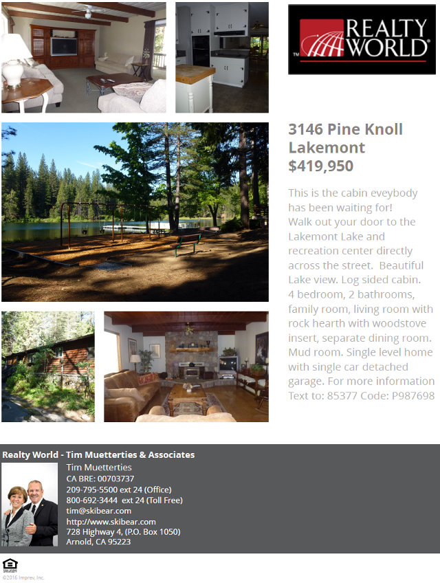 Beautiful Featured Home At 3146 Pine Knoll in Lakemont Pines Arnold, CA
