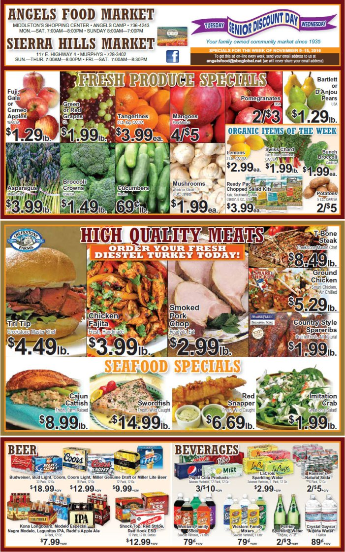 Angels Food & Sierra Hills Markets Weekly Ad November 9 – 15