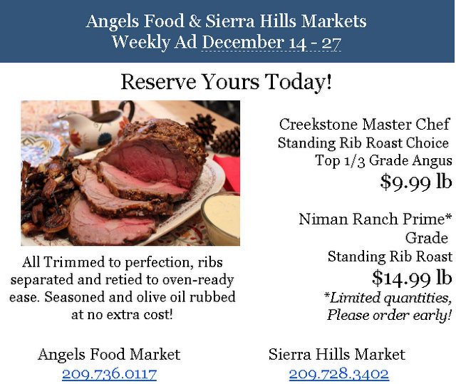 Angels Food & Sierra Hills Markets Weekly Ad Through December 27th!  Shop Local For The Holidays!