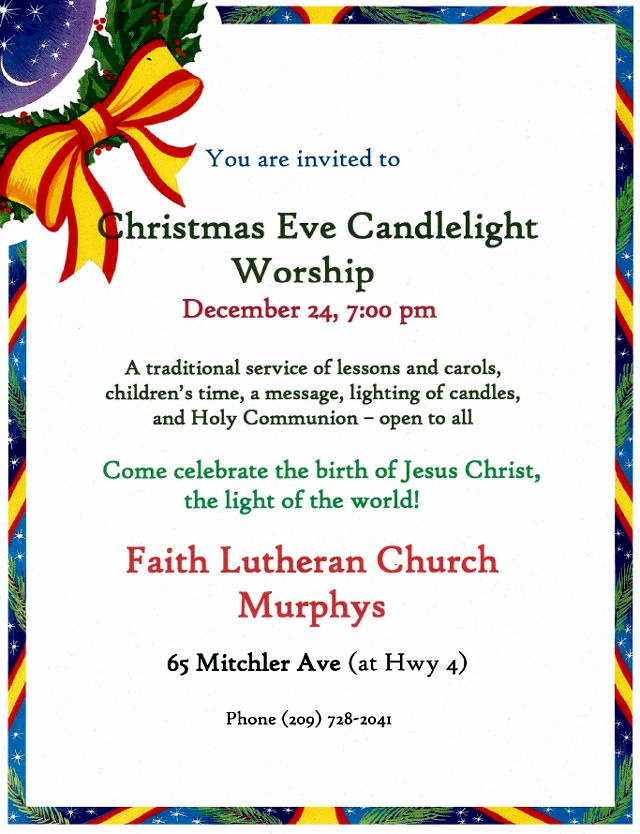 Ring In Christmas With Christmas Eve Service At Faith Lutheran Church In Murphys