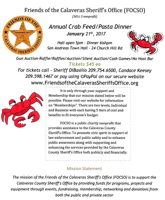 Make Plans To Attend The Friends Of The Sheriff's Office Annual Crab Feed & Pasta Dinner