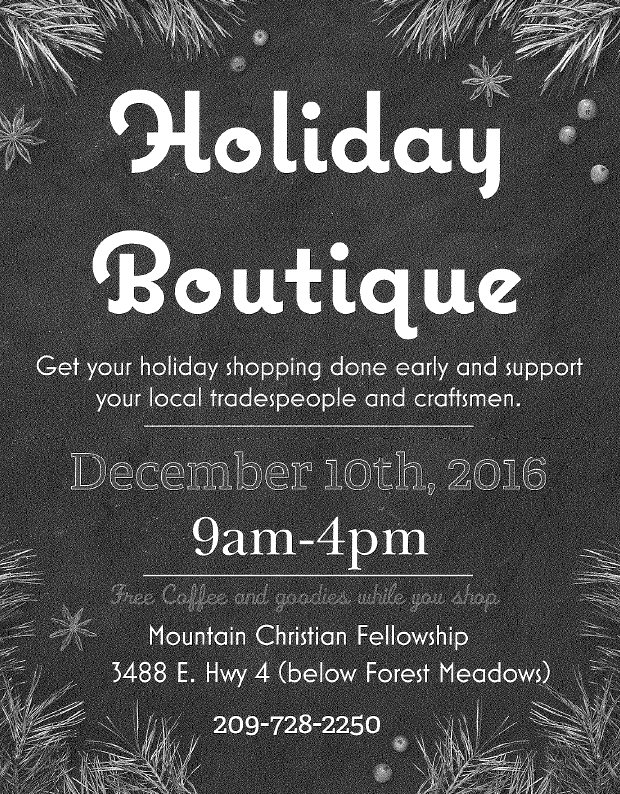 Don't Miss The Mountain Christian Fellowship Holiday Boutique