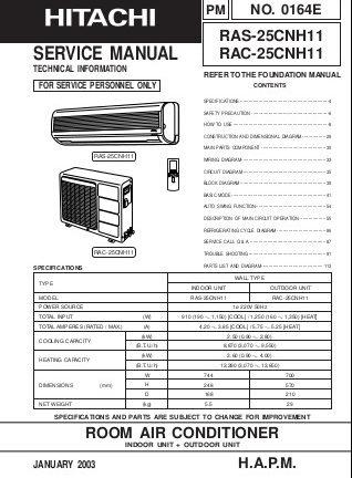 Hitachi Air Conditioner Service Manuals
