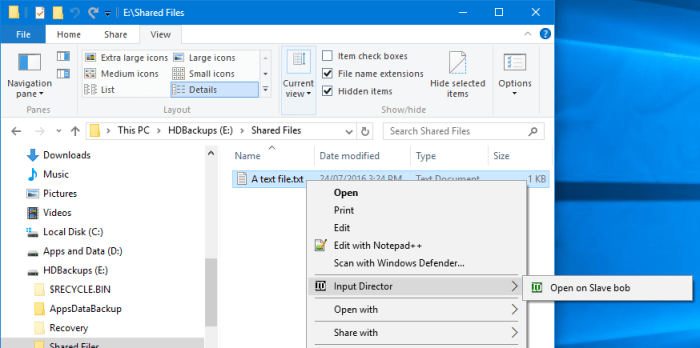 How to use Input Director on Windows 10 to copy documents between computers