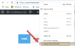 How to always show full URLs in Chrome browser on Windows 10