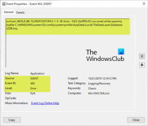 How to fix Event ID 455 ESENT error on Windows 10