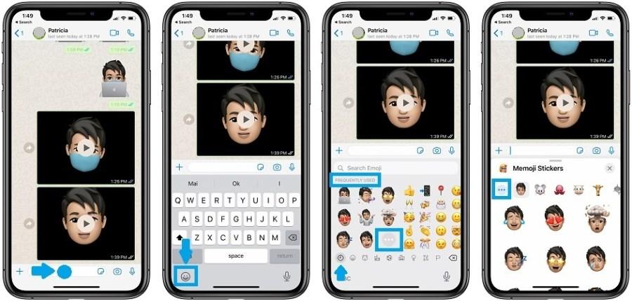 how to send Memoji stickers in WhatsApp