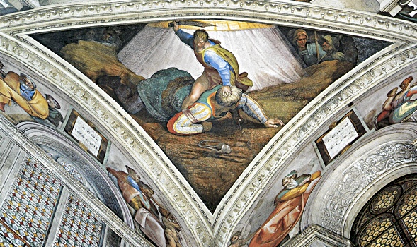 Michelangelo Buonarroti, Sistine chapel, scenes from the old testament: David and Goliath