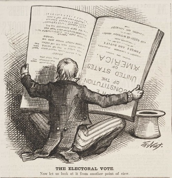 "Thomas Nast's ""The Electoral Vote"" was first published in People Thought The Electoral College Was Upside Down 140 Years Ago. Harper's Weekly on January 27th, 1877."