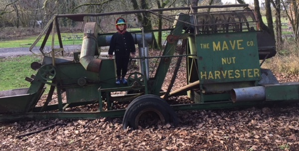 Callum on a nut harvester in Oregon (unrelated to the series).