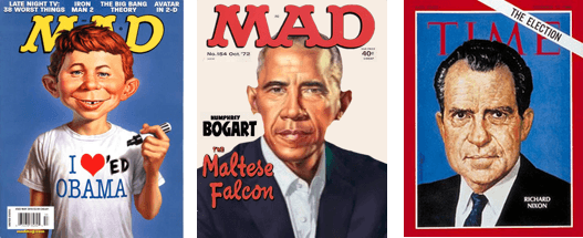 Magazine covers: MadMag, Fake, Time Magazine.