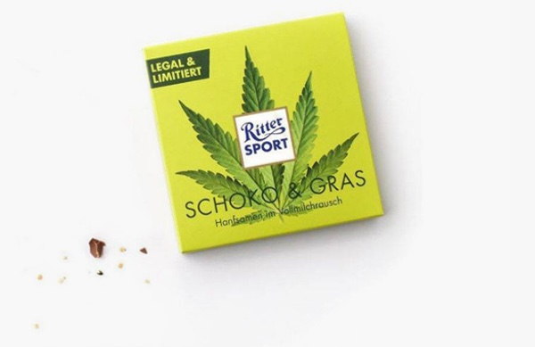 Sold out in 48 hours. Photo:  screenshot Instagram/Ritter Sport. It  takes 10 tonnes of whole milk chocolate with hemp seeds to produce  the 100,000 pieces of their famous square chocolate for this sales promotion.