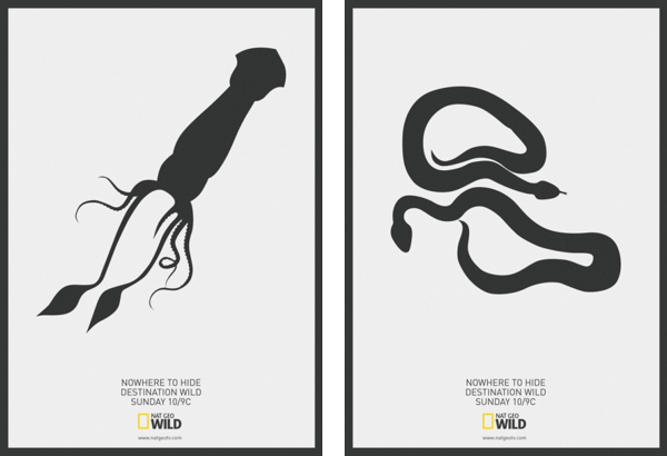 Negative space posters to promote NatGeo's video streaming.