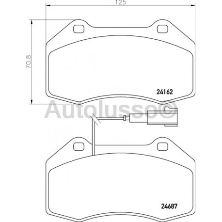 Front brake pads for the Alfa Romeo Mitos fitted with