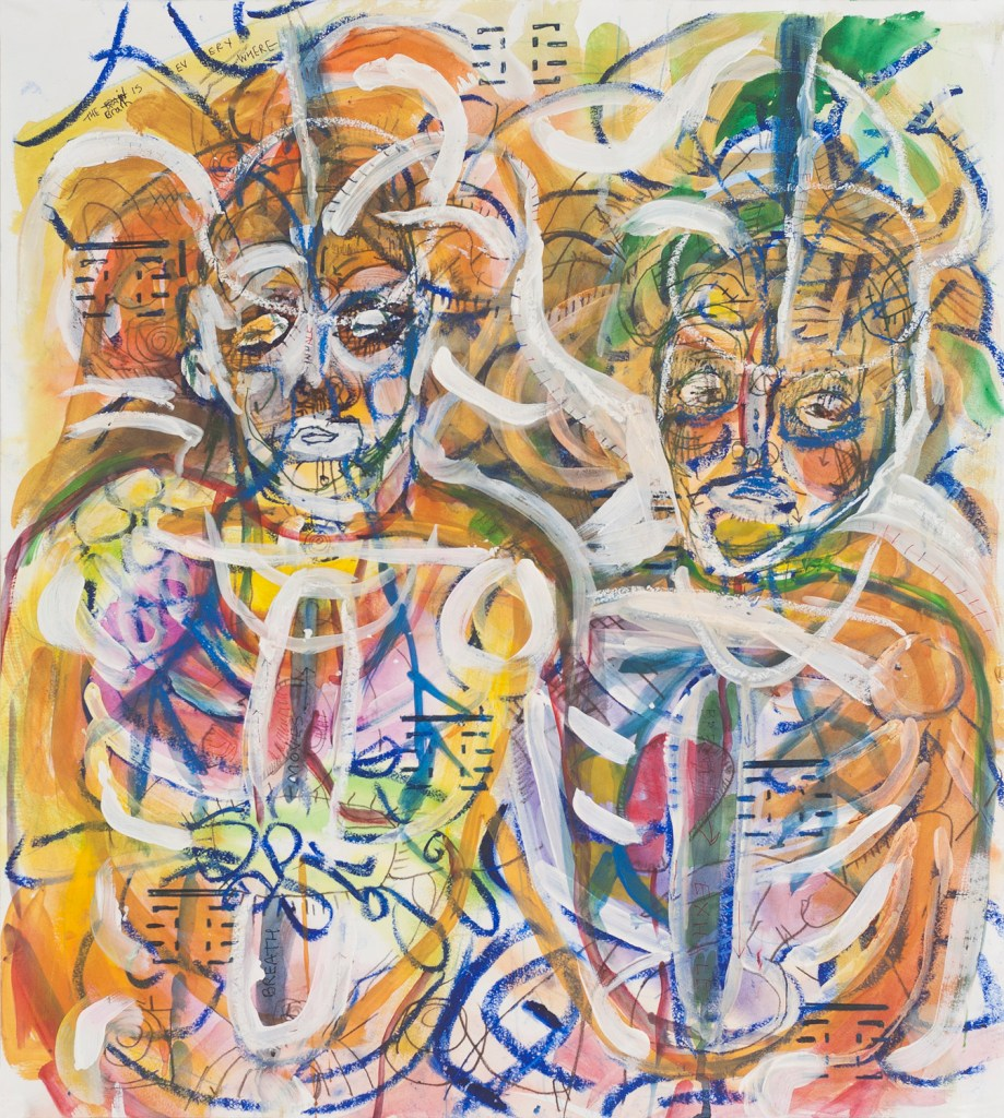 Christine Palamidessi's Me and Heloisa in Spongano Mixed media on paper
