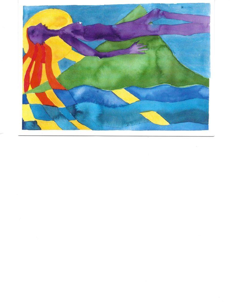 Barbara Stahler Sholk's Figure in a Landscape Watercolor