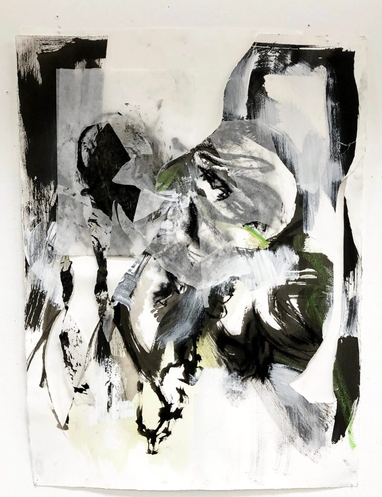 Julie Hom-Mandell's Weiji 1 Sumi ink, charcoal, tracing paper, oil pastel