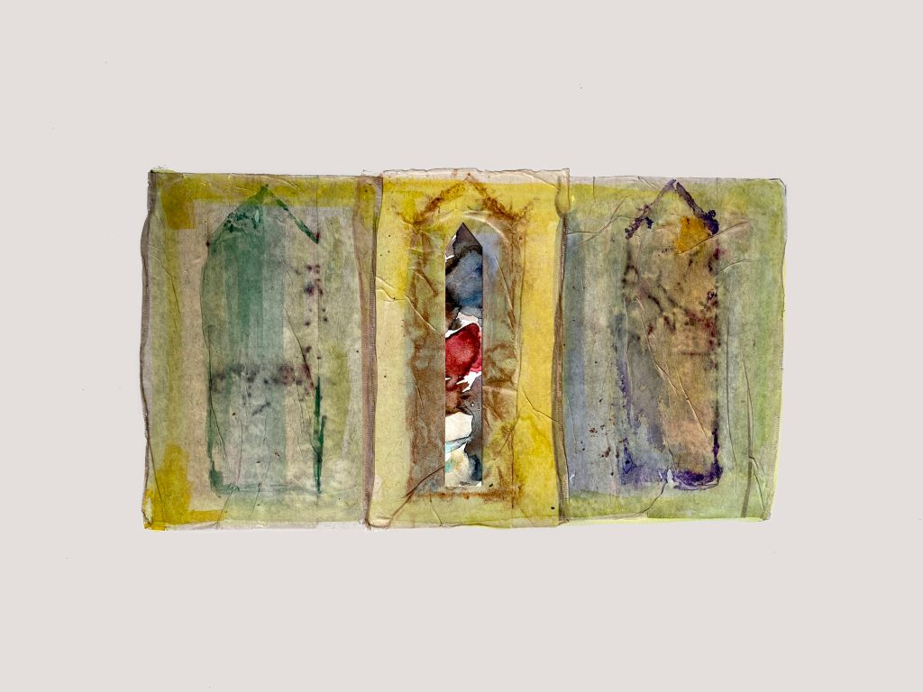 Sandra Pirie-St. Amour 3 Cups of Tea #2 watercolor and ink on paper and tea bags
