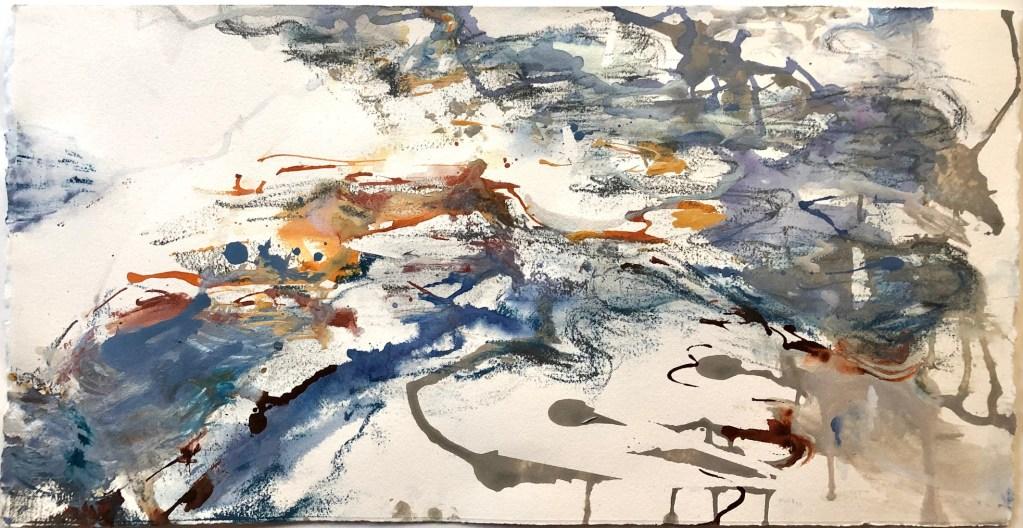 Erin Palazzolo Loparo's Flex/Flow Acrylic ink, graphite, tape on 140 lb. Arches cold-press watercolor paper