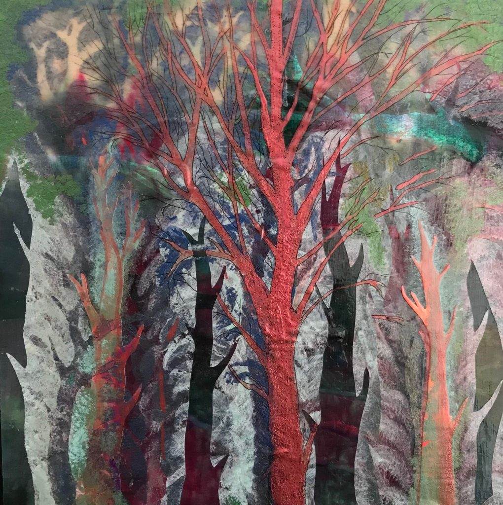 Kristin Ilse's Moonlight Through The Wood Birch base, holographic collage, painted silk, interference hues, paint, ink