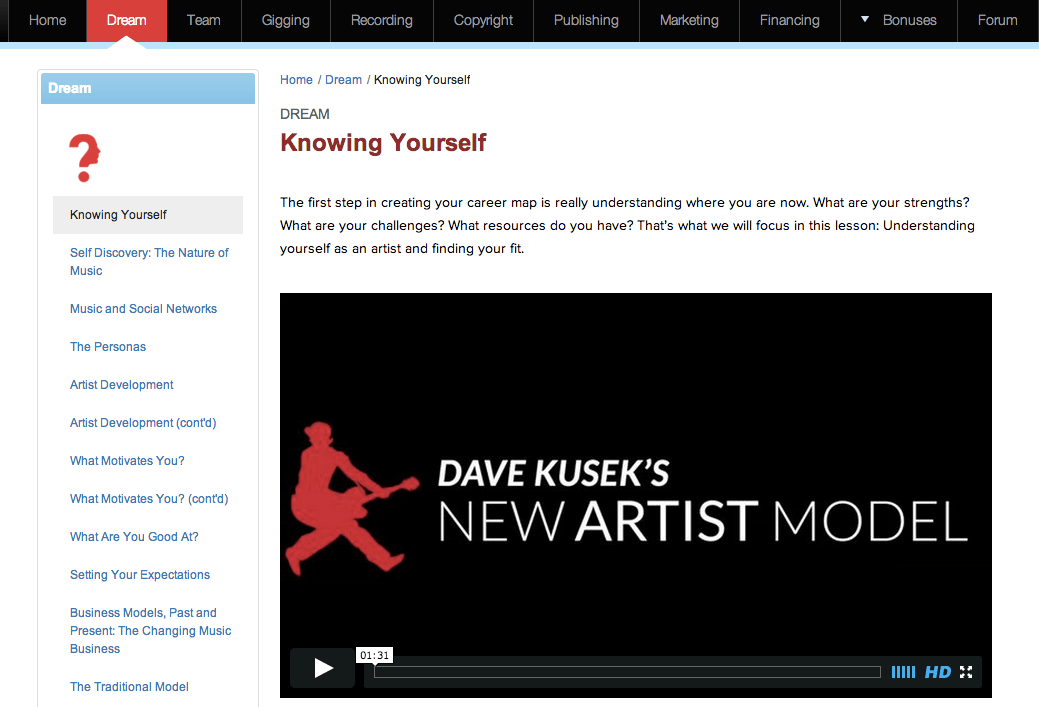 New Artist Model Lesson Page