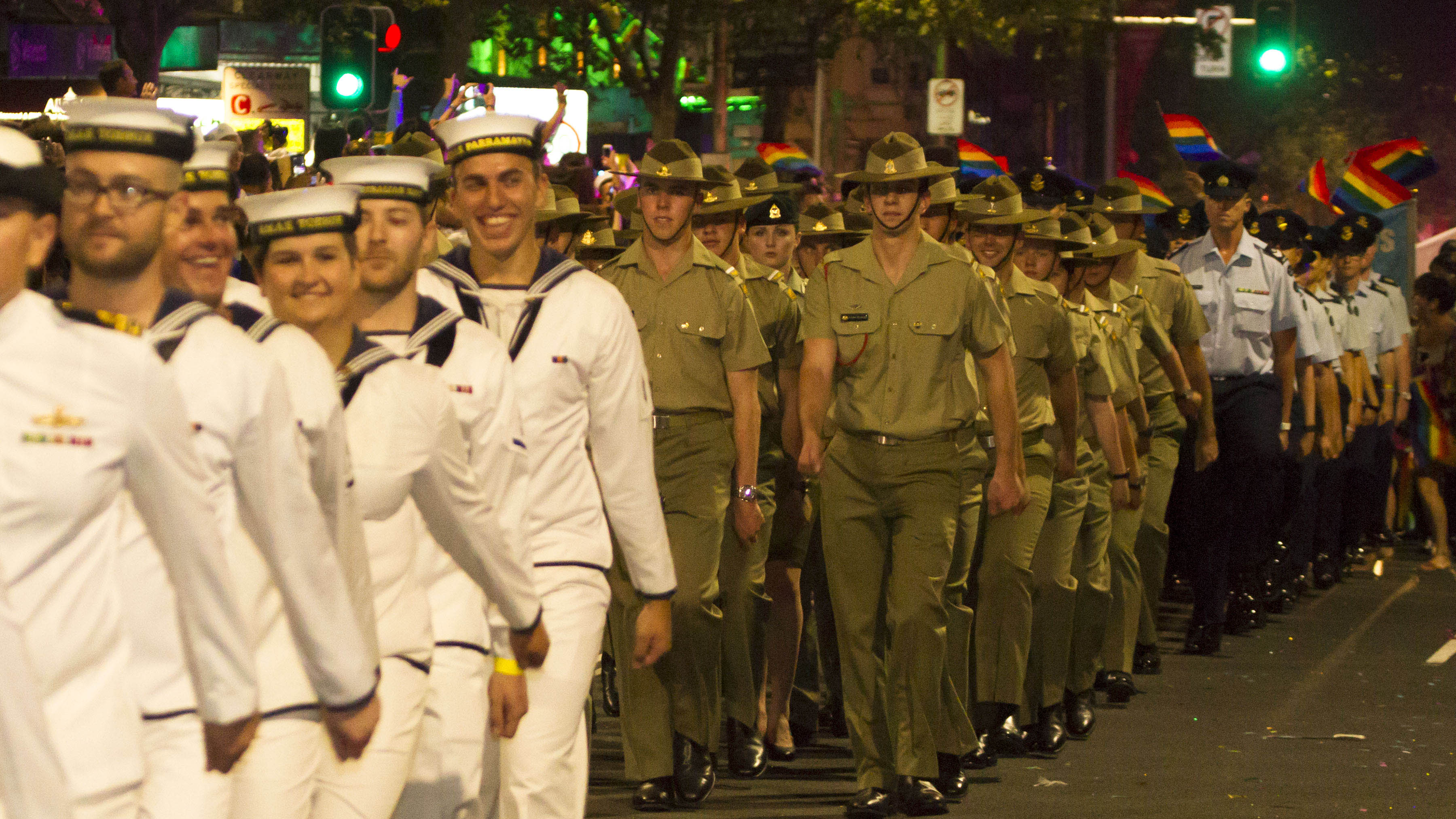 Australian Defence Force members and supporters march in the 2015 Sydney Gay and Lesbian Mardi Gras parade.