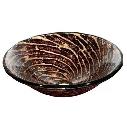Chocolate Caramel Swirl Glass Vessel Bathroom Sink VIGO Model number VG07035