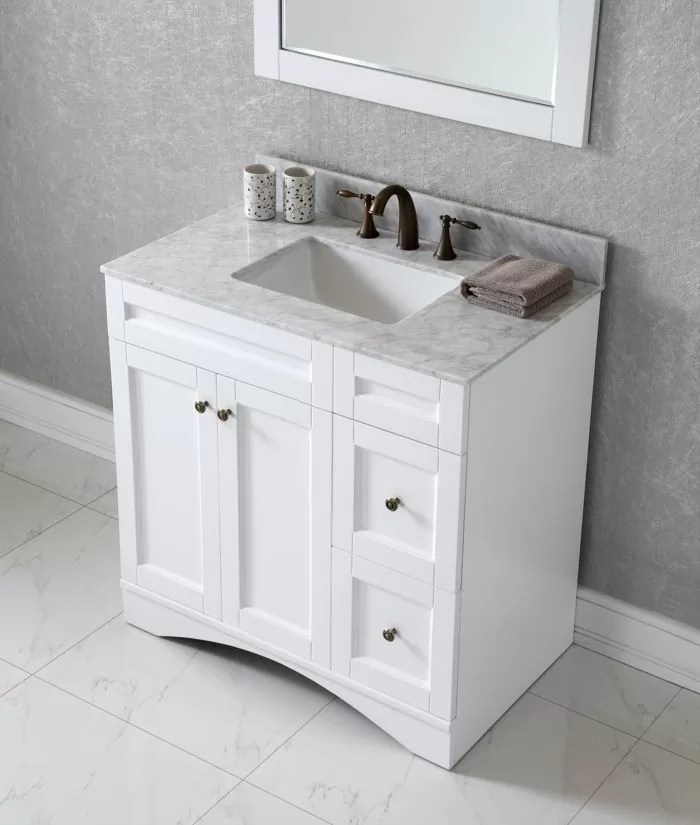 Virtu USA 36 Inch Elise Square Sink Vanity In White With