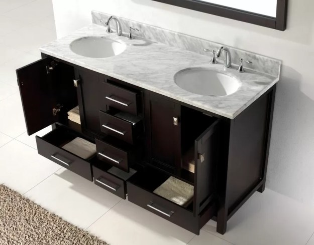 virtu usa 60 inch caroline avenue double sink vanity in espresso