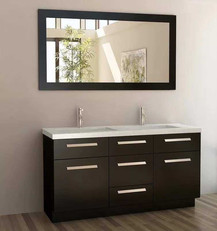 Design Element 60 Inch Moscony Double Sink Vanity Set In Espresso J60 Ds New Bathroom Style