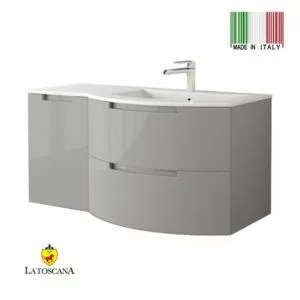 La Toscana 43 Inch OASI Modern Bathroom Vanity drawers left Glossy Gray OA43OPT3GG