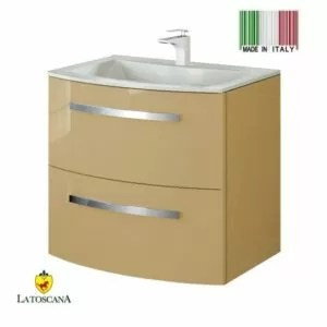 LaToscana Oasi 29 inch Modern Bathroom Vanity Glossy Sand with 2 Slow Close Drawers and Tekorlux Sink Top OA29OPT1S