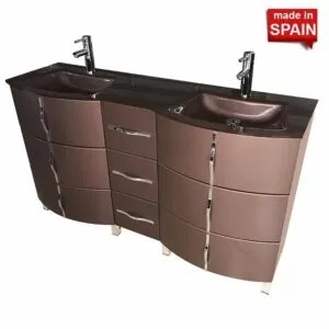 Model 60-in Krom European Style Double Modern Bathroom Vanity NBSBU-060-BM Socimobel