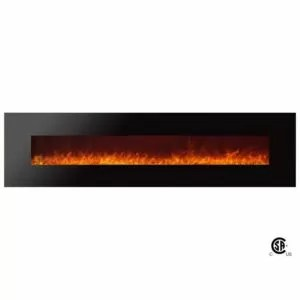 Royal Series - Electric Wall Mount Fireplace with Crystals - 95 inch