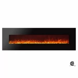 Royal Series - Electric Wall Mount Fireplace with Pebbles - 72 inch