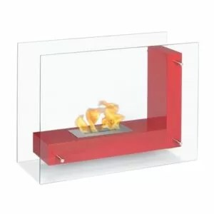 Vitrum L Red - Freestanding Ethanol Fireplace