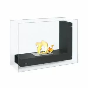 Vitrum L Black - Freestanding Ethanol Fireplace
