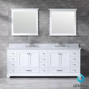 Dukes 84Inc Double Vanity Color White, White Carera Marble Top