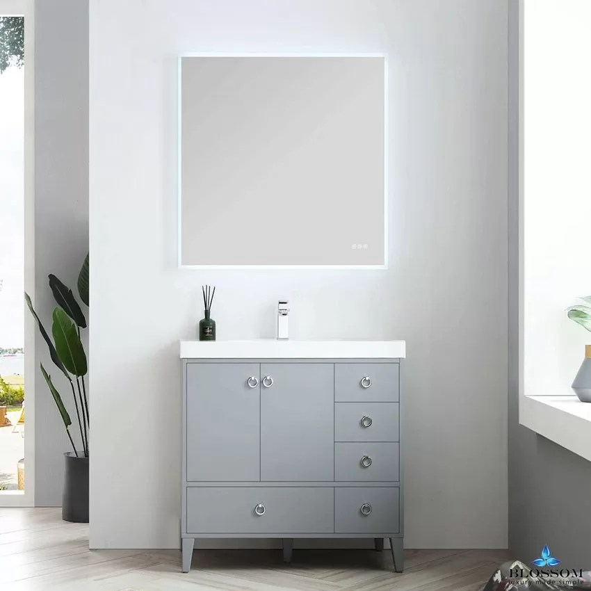 blossom lyon 36 inch color metal grey bathroom vanity no sink