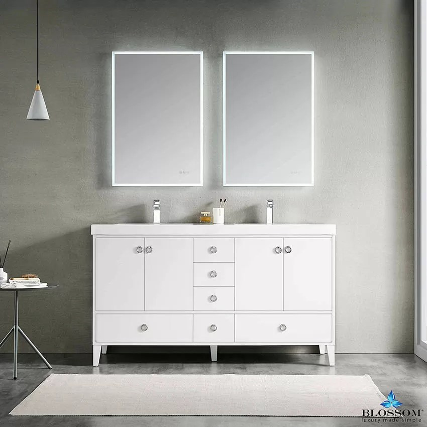 Blossom Lyon 60 Inch Freestanding White Color Double Bathroom Vanity